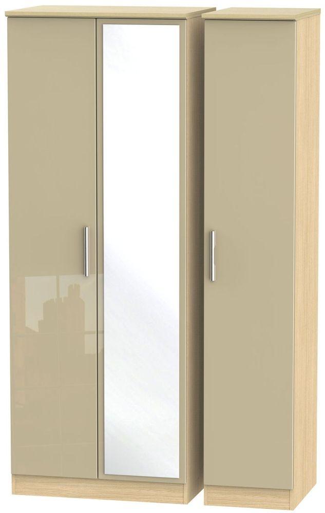Knightsbridge High Gloss Mushroom and Light Oak Triple Wardrobe - Tall with Mirror