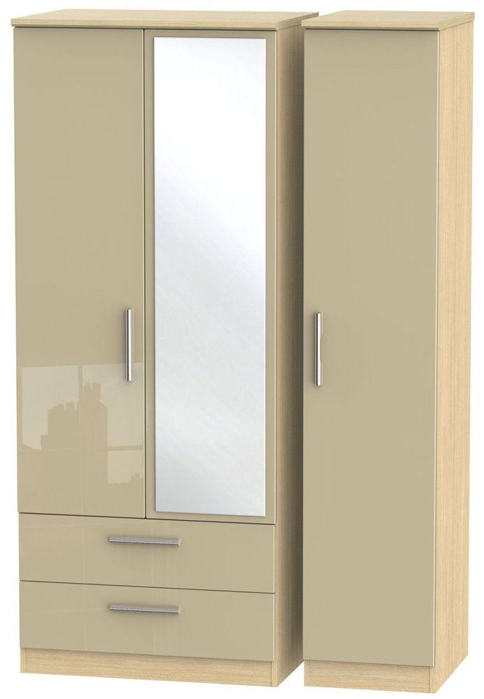 Knightsbridge High Gloss Mushroom and Light Oak Triple Wardrobe with 2 Drawer and Mirror