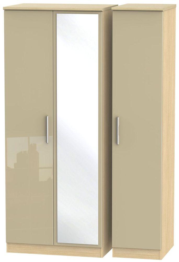 Knightsbridge High Gloss Mushroom and Light Oak Triple Wardrobe with Mirror