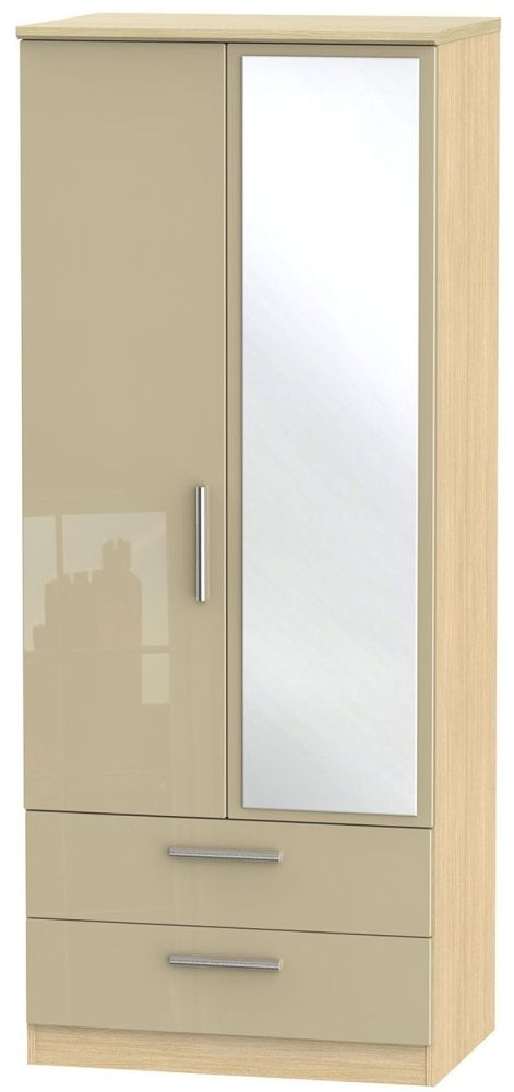 Knightsbridge High Gloss Mushroom and Light Oak Wardrobe - 2ft 6in with 2 Drawer and Mirror