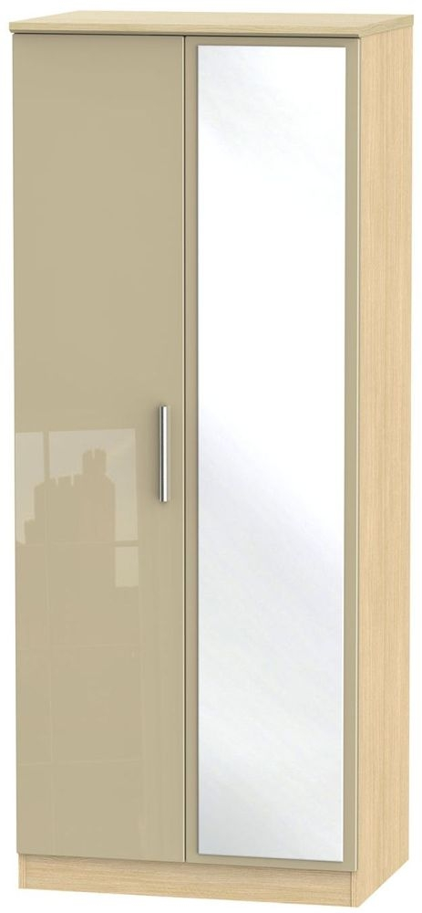Knightsbridge High Gloss Mushroom and Light Oak Wardrobe - 2ft 6in with Mirror