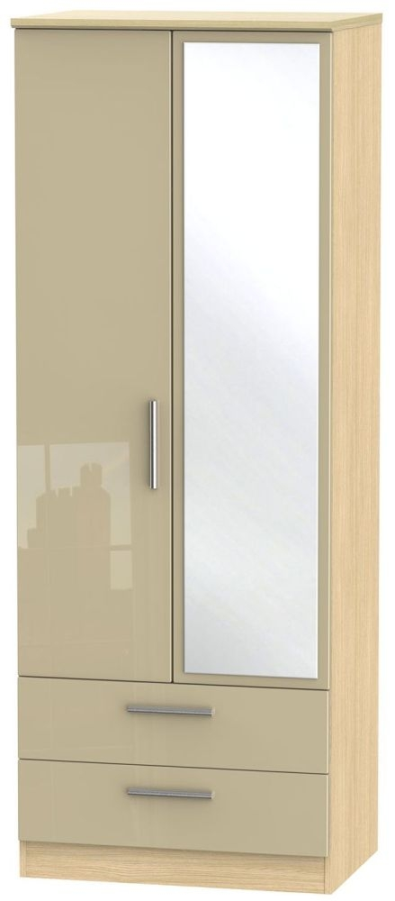 Knightsbridge High Gloss Mushroom and Light Oak Wardrobe - Tall 2ft 6in with 2 Drawer and Mirror