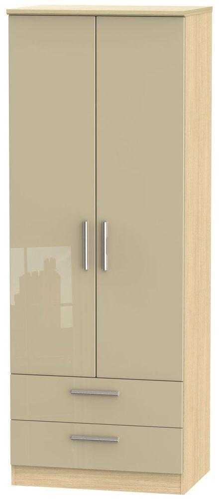Knightsbridge High Gloss Mushroom and Light Oak Wardrobe - Tall 2ft 6in with 2 Drawer