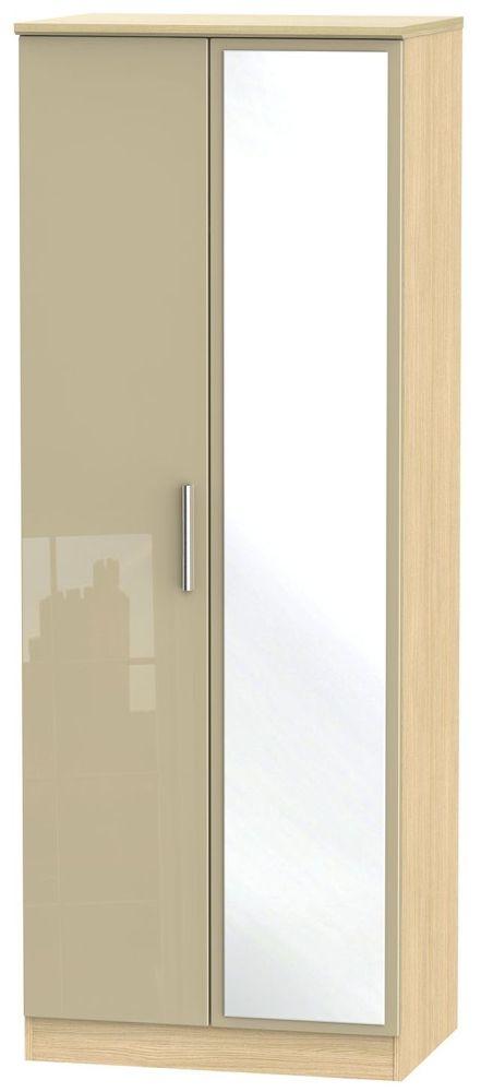 Knightsbridge High Gloss Mushroom and Light Oak Wardrobe - Tall 2ft 6in with Mirror