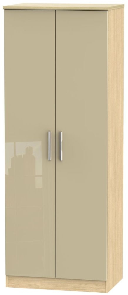 Knightsbridge High Gloss Mushroom and Light Oak Wardrobe - Tall 2ft 6in with Double Hanging