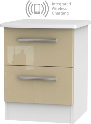 Knightsbridge 2 Drawer Bedside Cabinet with Integrated Wireless Charging - High Gloss Mushroom and White