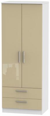 Knightsbridge 2 Door 2 Drawer Tall Wardrobe - High Gloss Mushroom and White