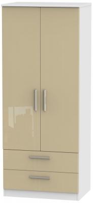 Knightsbridge 2 Door 2 Drawer Wardrobe - High Gloss Mushroom and White