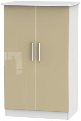 Knightsbridge 2 Door Midi Wardrobe - High Gloss Mushroom and White