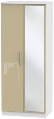 Knightsbridge 2 Door Mirror Wardrobe - High Gloss Mushroom and White