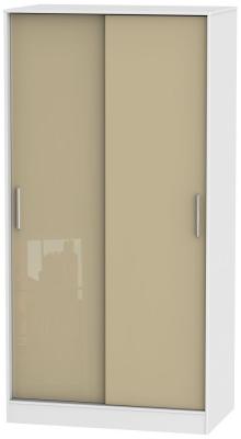 Knightsbridge 2 Door Sliding Wardrobe - High Gloss Mushroom and White
