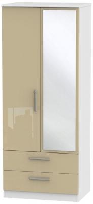 Knightsbridge 2 Door Tall Combi Wardrobe - High Gloss Mushroom and White