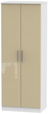 Knightsbridge 2 Door Tall Hanging Wardrobe - High Gloss Mushroom and White