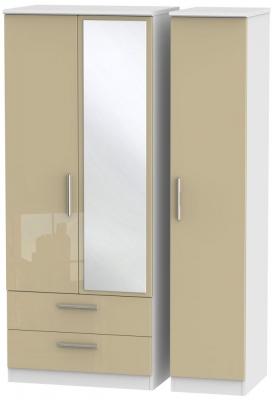Knightsbridge 3 Door 2 Left Drawer Combi Wardrobe - High Gloss Mushroom and White
