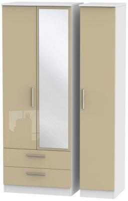 Knightsbridge 3 Door 2 Left Drawer Tall Combi Wardrobe - High Gloss Mushroom and White