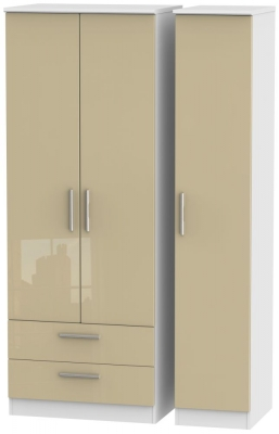 Knightsbridge 3 Door 2 Left Drawer Tall Wardrobe - High Gloss Mushroom and White