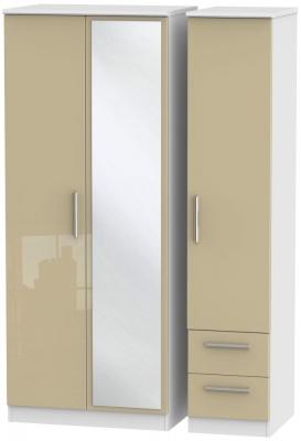 Knightsbridge 3 Door 2 Right Drawer Combi Wardrobe - High Gloss Mushroom and White