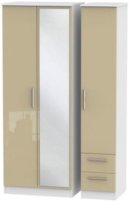 Knightsbridge 3 Door 2 Right Drawer Tall Combi Wardrobe - High Gloss Mushroom and White