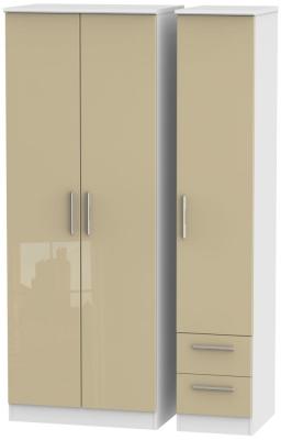 Knightsbridge 3 Door 2 Right Drawer Tall Wardrobe - High Gloss Mushroom and White
