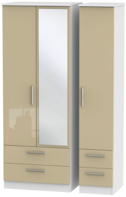 Knightsbridge 3 Door 4 Drawer Tall Combi Wardrobe - High Gloss Mushroom and White