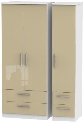Knightsbridge 3 Door 4 Drawer Wardrobe - High Gloss Mushroom and White