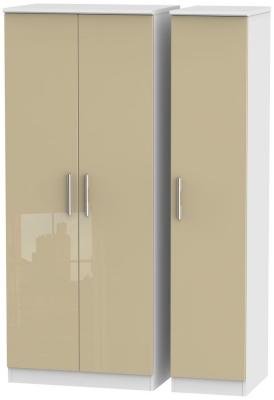 Knightsbridge 3 Door Wardrobe - High Gloss Mushroom and White