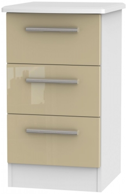 Knightsbridge 3 Drawer Bedside Cabinet - High Gloss Mushroom and White