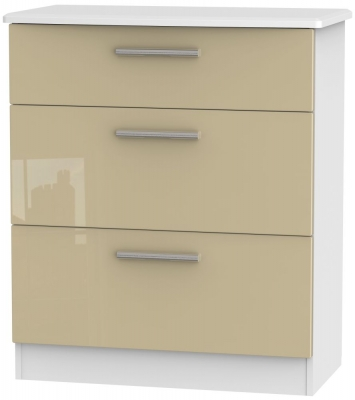 Knightsbridge 3 Drawer Deep Chest - High Gloss Mushroom and White