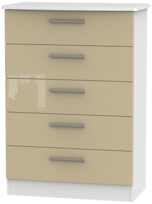 Knightsbridge 5 Drawer Chest - High Gloss Mushroom and White