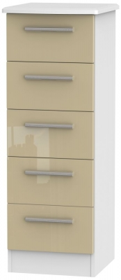 Knightsbridge 5 Drawer Tall Chest - High Gloss Mushroom and White