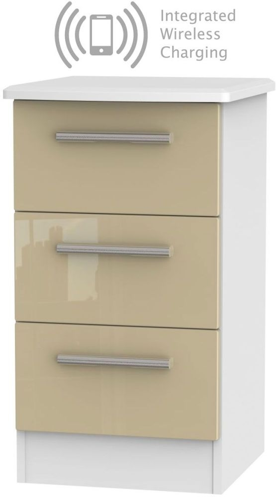 Knightsbridge 3 Drawer Bedside Cabinet with Integrated Wireless Charging - High Gloss Mushroom and White