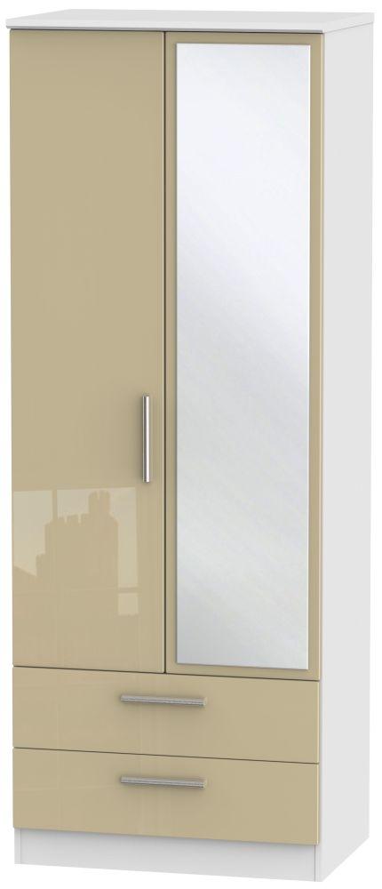 Knightsbridge 2 Door Combi Wardrobe - High Gloss Mushroom and White