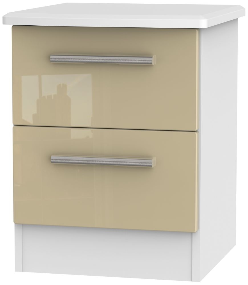 Knightsbridge 2 Drawer Bedside Cabinet - High Gloss Mushroom and White