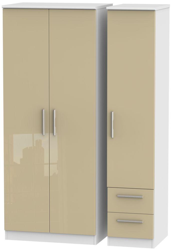 Knightsbridge 3 Door 2 Right Drawer Wardrobe - High Gloss Mushroom and White