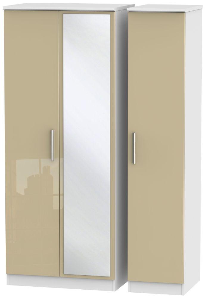 Knightsbridge 3 Door Mirror Wardrobe - High Gloss Mushroom and White