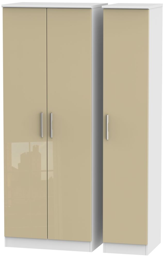 Knightsbridge 3 Door Tall Wardrobe - High Gloss Mushroom and White
