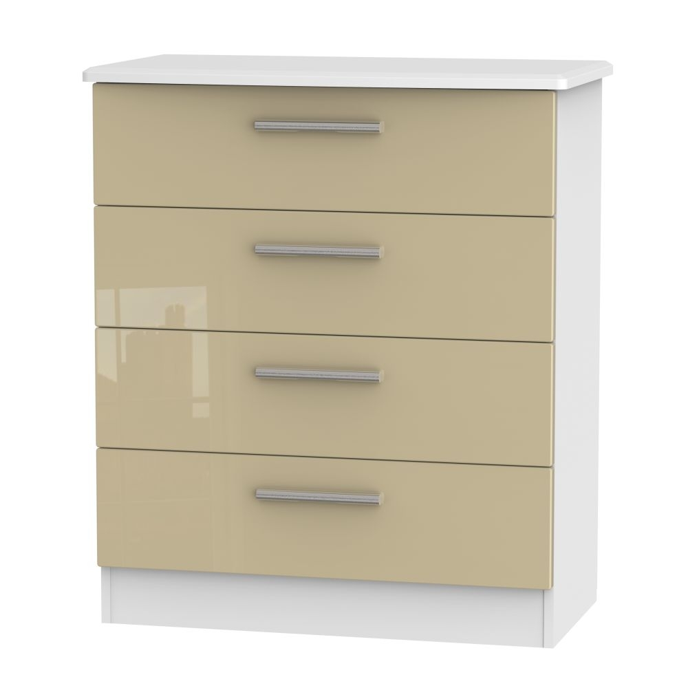 Knightsbridge 4 Drawer Chest - High Gloss Mushroom and White