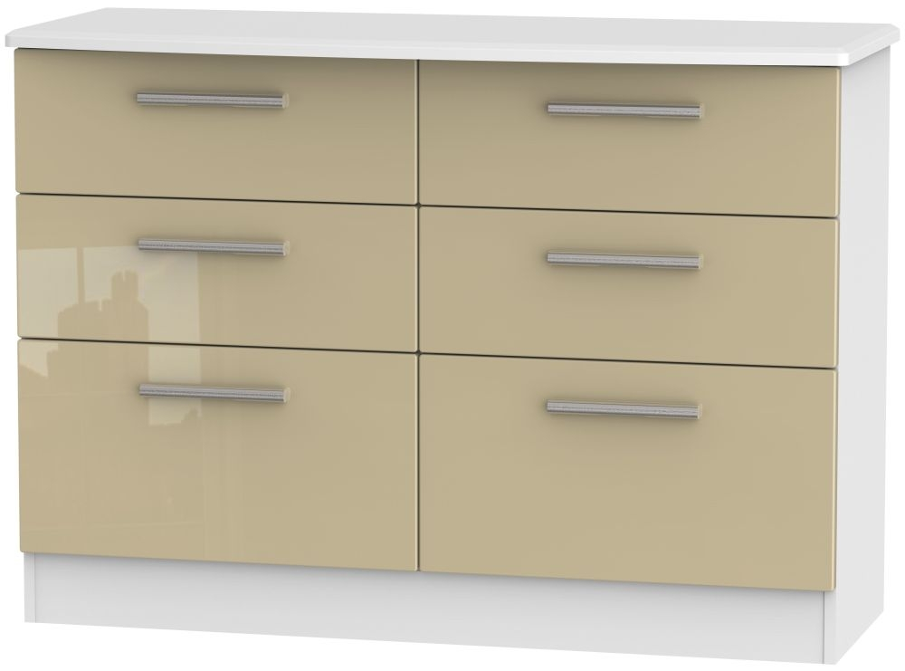 Knightsbridge 6 Drawer Midi Chest - High Gloss Mushroom and White