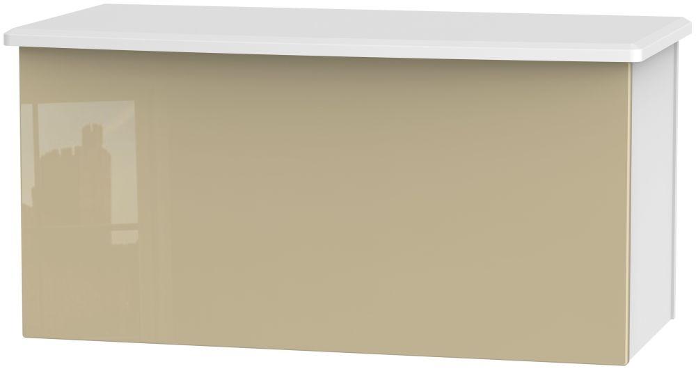 Knightsbridge Blanket Box - High Gloss Mushroom and White