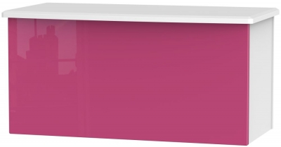 Knightsbridge High Gloss Pink and White Blanket Box
