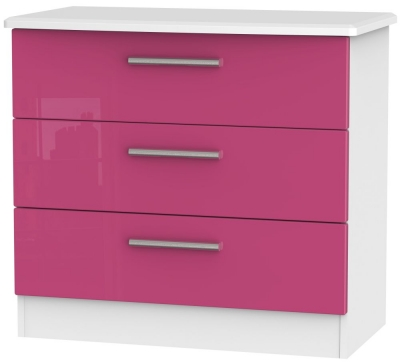 Knightsbridge High Gloss Pink and White Chest of Drawer - 3 Drawer