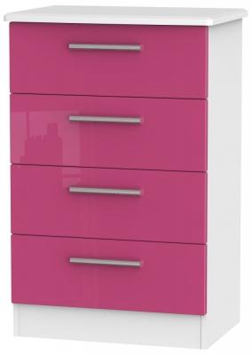 Knightsbridge High Gloss Pink and White Chest of Drawer - 4 Drawer Midi