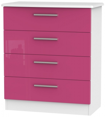 Knightsbridge High Gloss Pink and White Chest of Drawer - 4 Drawer