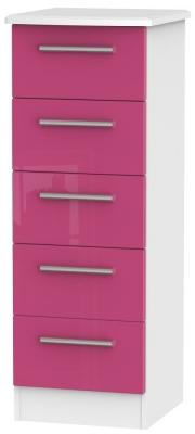 Knightsbridge High Gloss Pink and White Chest of Drawer - 5 Drawer Locker