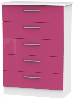 Knightsbridge High Gloss Pink and White Chest of Drawer - 5 Drawer