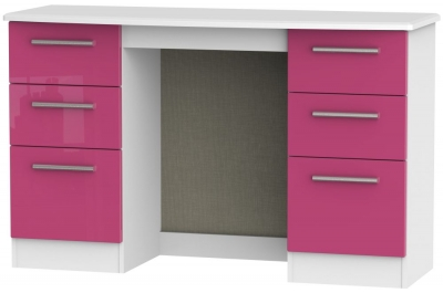 Knightsbridge High Gloss Pink and White Dressing Table - Knee Hole Double Pedestal