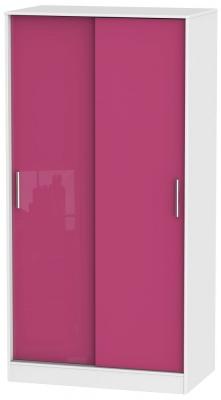 Knightsbridge High Gloss Pink and White Sliding Wardrobe - Wide