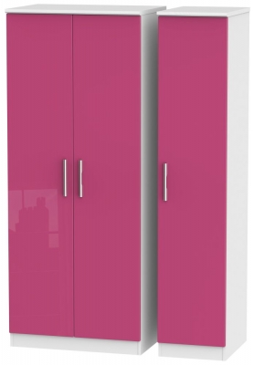 Knightsbridge High Gloss Pink and White Triple Plain Wardrobe