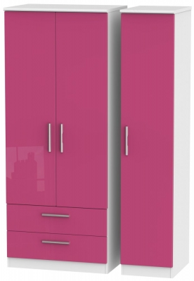Knightsbridge High Gloss Pink and White Triple Wardrobe with 2 Drawer