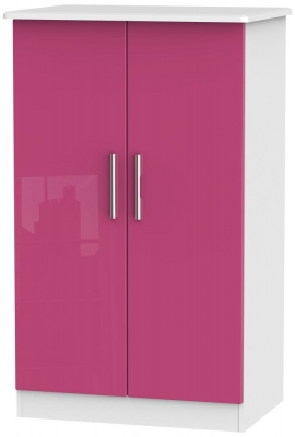 Knightsbridge High Gloss Pink and White Wardrobe - 2ft 6in Plain Midi